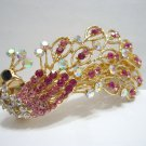 Ladies Clear White & Pink Crystal Peacock Hair Barrette/Pin/Clip