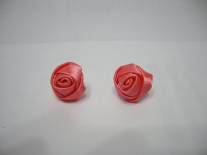 Ladies Pink Ribbon Rose Earrings Stud