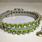 Genuine Leather with Crystals/Rhinestones Thin Belt & Waist Chain - Green