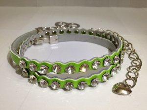 Genuine Leather with Crystals/Rhinestones Thin Belt & Waist Chain - Green