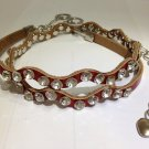 Genuine Leather with Crystals/Rhinestones Thin Belt & Waist Chain - Red