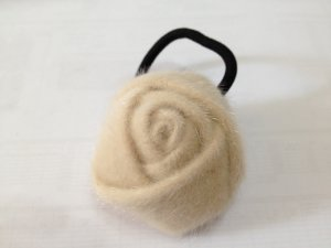 Ladies Fluffy Rose Hair Tie Band/Ponytail Holder