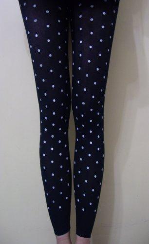 Ladies Black & White Polka Dots Print Footless Pantyhose/Stockings/Leggings