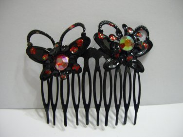 Ladies Multi-Color Beads Butterfly Hair Comb