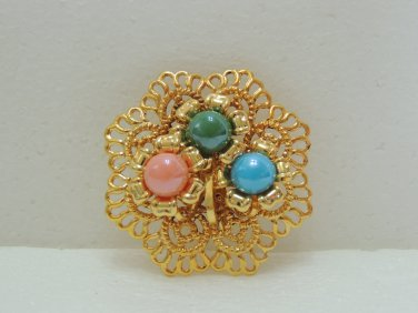 Ladies Beautiful Gold Floral Shape with Green/Pink/Blue beads Brooch/Pin