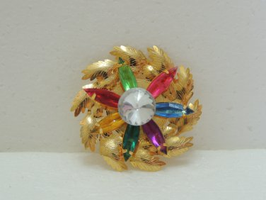 Ladies Beautiful Gold Round Shape with Multi-color beads Brooch/Pin