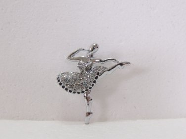 Ladies Beautiful Silver Color with Glitter Ballerina Design Brooch/Pin