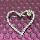 Brand New Ladies Silver Color with Clear Crystal Heart Shape Brooch/Pin