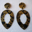 100% New Ladies Black & Gold Floral Print Dangles Earrings Stud