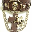 Genuine Leather Wristband/Bracelet/Bangle with Skull Charm Link Chain
