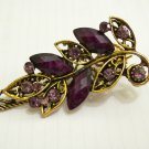 Brand New Ladies Purple Crystal & Gemstone Bronze Floral Hair Clip