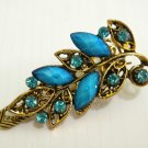 Ladies Turquoise Blue Crystals & Gemstone Bronze Hair Clip