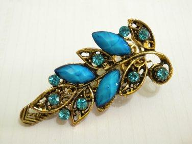 Ladies Turquoise Blue Crystals & Gemstone Bronze Hair Clip