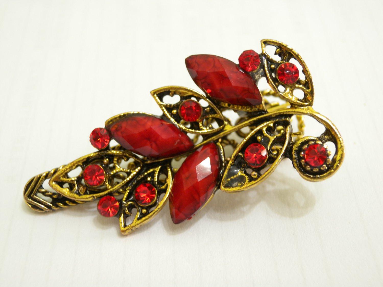 Ladies Red Crystal & Gemstone Bronze Floral Hair Clip