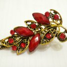 Ladies Red Crystal & Gemstone Bronze Floral Hair Clip