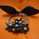 Ladies Dark Gray Velvet Floral with Faux Pearls Hair Tie Band/Ponytail Holder