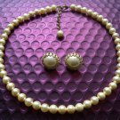 Ladies Faux Pearls Necklace & Earrings Studs Set