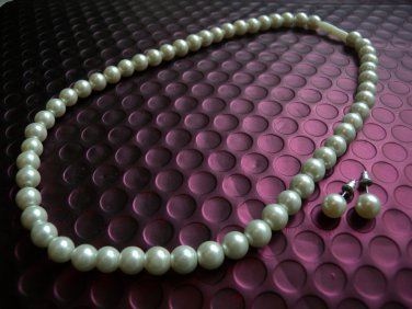 Ladies Faux Pearls Necklace & Earrings Studs Set, Wedding/Bridal/Party