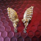 Ladies Gold Wings with Clear White Crystals Clip-On Earrings