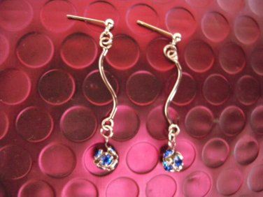 Brand New Silver Stripes with Blue Crystals Dangle Earrings Studs