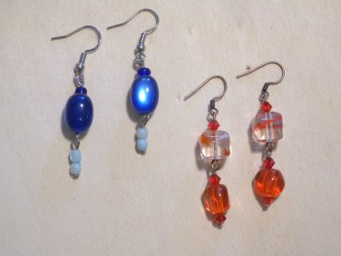 2 Pairs of Brand New Multi-Color Glass Beads Dangles Hook Earrings