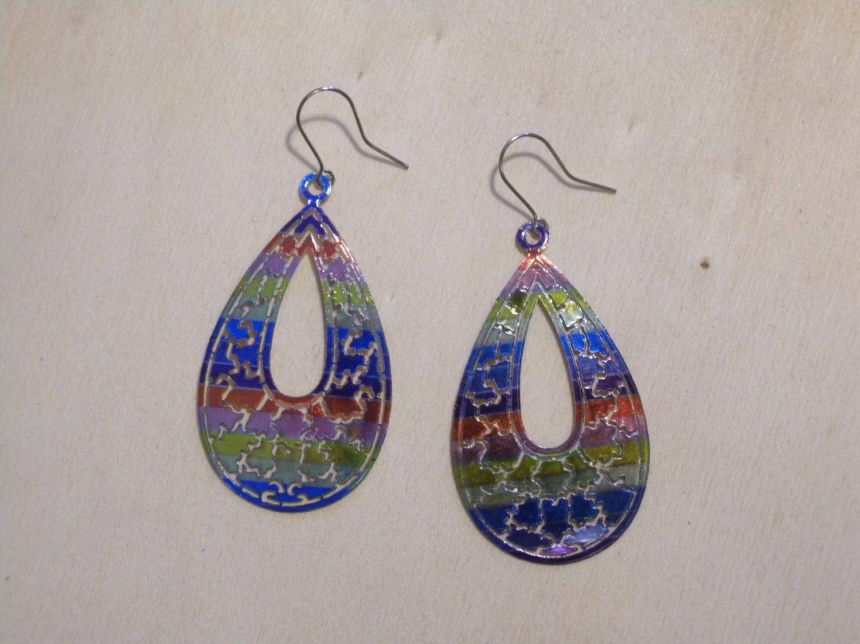 Ladies Multi-Color Alloy Waterdrop Shape Dangle Hook Earrings