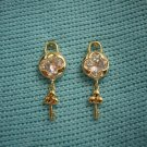 Ladies Clear White Crystal Floral with Gold Key Decors Dangle Earrings Studs