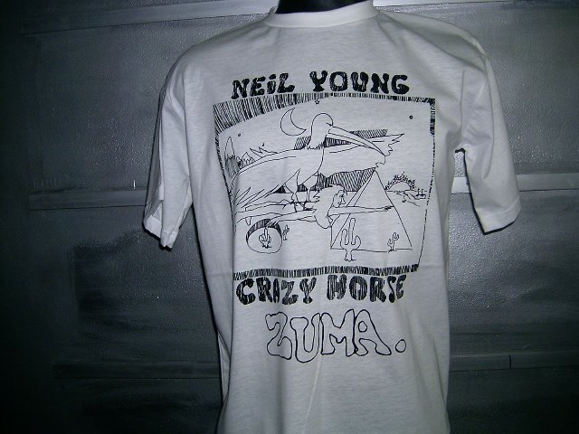 NEIL YOUNG & CRAZY HORSE zuma T SHIRT  WHITE L