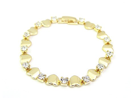 18 k Gold Heart With Zircon Bracelet