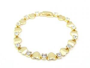 18 k Gold Heart With Zircon Bracelet