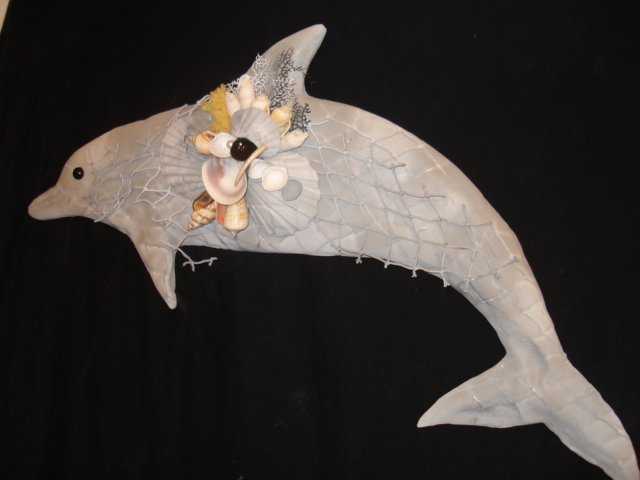 Dolphin Wall Plaque (light grey/white)
