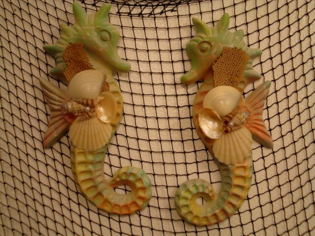 Large Seahorse Wall Plaques (multi color green/sand)