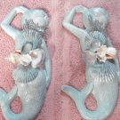 Mermaid set Wall Plaques Teal w/pearl finish