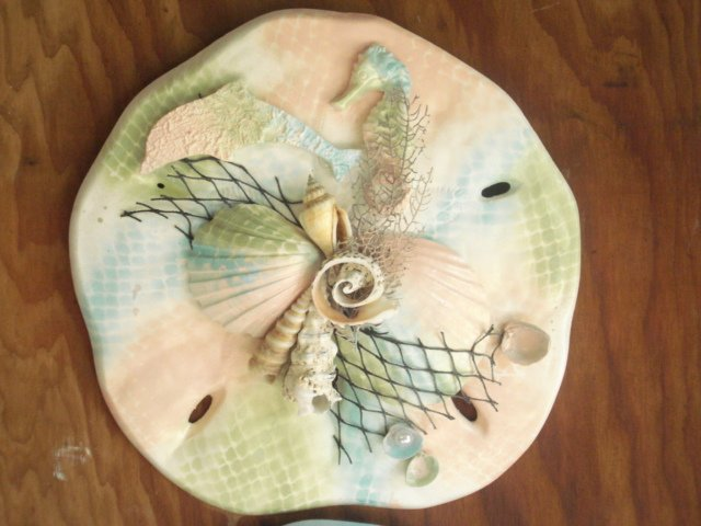 Sand Dollar Plaque Multi-Color Pastels with Fish Accents