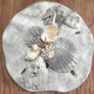 Sand Dollar Wall Plaque Grey w/ Fish and Seahorse accent
