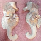 Seahorse Wall Plaque Set Natural w/light blue