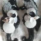 Large Seahorse Wall Plaque Set Gloss Black w/white shells
