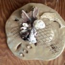 Sand Dollar Wall Plaque Sand Color with Dolphin accent