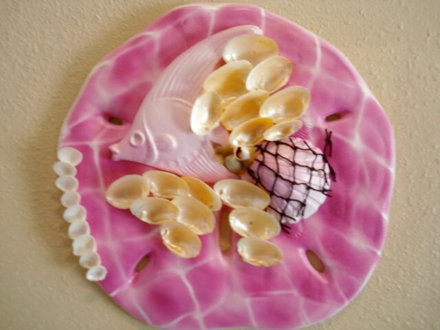 Sand Dollar Wall Plaque Dark Pink