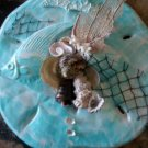 Sand Dollar PLaque Teal with Fish