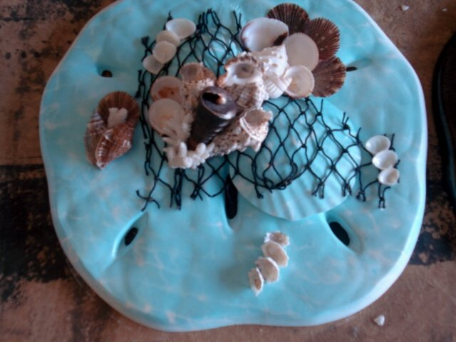 Sand Dollar Wall Plaque Teal with Large Shells