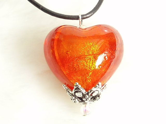Glass Murano Pendant Hot Red Heart #P001, FREE SHIPPING!!!