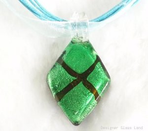 P063 MURANO GLASS GREEN DIAMOND PENDANT NECKLACE, FREE SHIPPING!!!