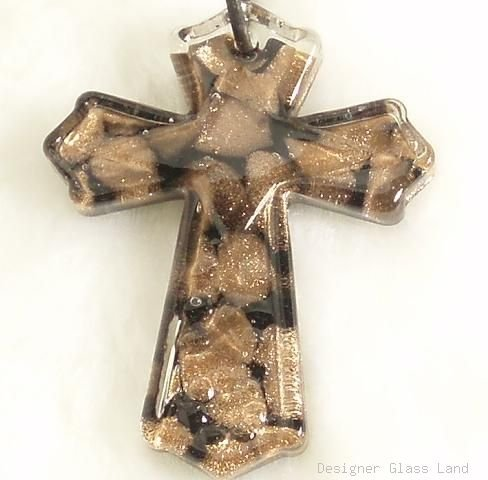 P163 MURANO GLASS SMOKY CROSS PENDANT NECKLACE