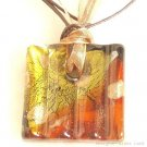 P177 MURANO GLASS GOLDEN GRID PENDANT NECKLACE