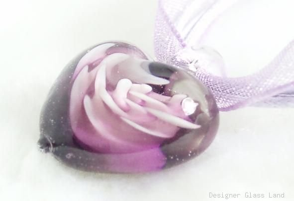 P182 MURANO GLASS PURPLE FLOWER HEART PENDANT NECKLACE