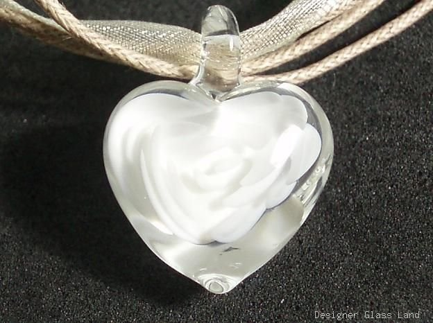 P187 MURANO GLASS CRYSTAL FLOWER HEART PENDANT NECKLACE