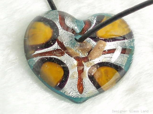 P248 MURANO LAMPWORK GLASS HEART PENDANT NECKLACE