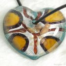 P248 MURANO LAMPWORK GLASS HEART PENDANT NECKLACE
