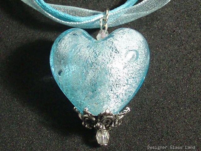P312 MURANO GLASS SKY BLUE HEART PENDANT NECKLACE